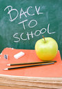 Back to school with pencils, rubber and sharpener Stock Photo