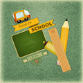 Back to school retro card design board and supplies on vintage jeans background illustration Stock Photography