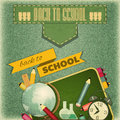 Back to school retro card design board and supplies on vintage jeans background illustration Royalty Free Stock Photo