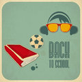 Back to school retro card design book on vintage background illustration Royalty Free Stock Photography