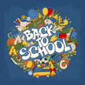 Back to school retro styled doodle creative design with stationery and other education elements on blue grunge background vector Stock Photos
