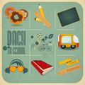 Back to school retro vintage card design board sport icons and supplies on blue background illustration Royalty Free Stock Photo