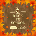 Back to school sale background with frame of leaves with design elements, books, microscope and text