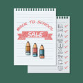 Back to school sale banner on green background.