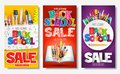 Back to School Sale Creative Ad Banner and Poster Set with Colorful Titles