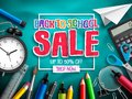Back to school sale vector banner design for discount promotion with school supplies Royalty Free Stock Photo