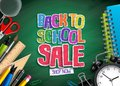 Back to school sale vector banner design with sale text, school elements and education items Royalty Free Stock Photo
