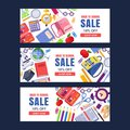 Back to school sale vector banner template. Education backgrounds set with stationery supplies