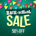 Back to school sale vector design with colorful streamers hanging