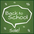 Back to school sale vector illustration eps written on blackboard with chalk speech bubble grunge background with percent Royalty Free Stock Image