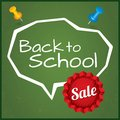Back to school sale vector illustration eps written on blackboard with chalk speech bubble with sticker grunge background Royalty Free Stock Photo