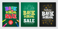 Back to school sale vector set of poster and banner with colorful title