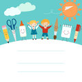 Back to school schoolboy schoolgirl and funny cartoon supplies Royalty Free Stock Photography