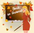 Back to school. Schoolteacher with pick device Royalty Free Stock Photography