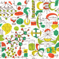 Back to School: science lab objects doodle vintage style sketches seamless pattern,