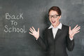Back to school with screaming teacher on the blackboard background phrase Stock Photography