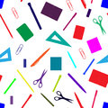 Back to school seamless pattern with hand drawn school supplies, books and stationery. Line, polygon, scissor, notebook, pen, penc