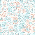 Back to school seamless pattern with symbols alphabet milk pack bell and apple vector illustration sketch style Royalty Free Stock Photo