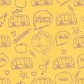 Back to school seamless pattern. Vector hand drawn illustration of symbols.
