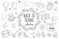Back to school set of icons, line style. Education collection of doodle design elements, outline. Coloring page for Royalty Free Stock Photo