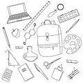 Back to School, Set of School Supplies Vector Illustration