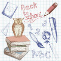 Back to school set welcome collection with hand draw education elements Royalty Free Stock Photos