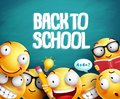 Back to school smileys vector design. Yellow student emoticons