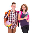 Back to school smiling schoolboy and schoolgirl with books in hands Stock Image