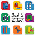 Back to school stickers eight for preschool daycare arts crafts and literacy projects includes a backpack an apple for the teacher Stock Photos