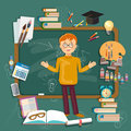 Back to school student education subjects schoolboy blackboards Royalty Free Stock Photo
