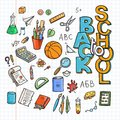 Back to School Supplies collection. Sketchy notebook doodles set with lettering Royalty Free Stock Photo