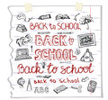 Back to School Supplies ,lettering.Sketchy Notebook Doodles Royalty Free Stock Photo