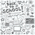 Back to School Supplies Sketchy Doodles Vector Set Royalty Free Stock Photo
