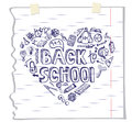 Back to School Supplies Sketchy Notebook Doodles. Royalty Free Stock Photo