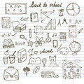 Back to School Supplies Sketchy Notebook Doodles set with Lettering, Hand-Drawn Vector Illustration Design Royalty Free Stock Photo