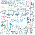 Back to School Supplies Sketchy Notebook Doodles set with Lettering, Hand-Drawn Vector Illustration Design Elements on Lined Sketc Royalty Free Stock Photo