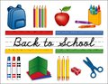 Back to School Supplies Whiteboard Royalty Free Stock Photo