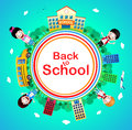 Back to School Text on a Circle with School Building and School Bus Royalty Free Stock Photo