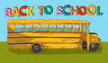 Back to school text colorful school bus cartoon education beautiful with blue sky and green yard vector layered for easy editing Stock Photo