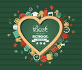 Back to school text education love symbol and icons welcome heart shaped chalkboard green background colorful illustration vector Stock Image