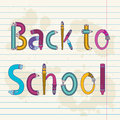 Back to school text with letters made of pencils and brushes Stock Photo