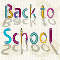 Back to school text with letters made of pencils and brushes Stock Image