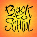 Back to school text on orange backdrop. Lettering design for icon, greeting cards, invitations, posters, banners.