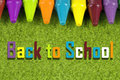 Back to school theme with colorful pastel crayons Royalty Free Stock Photo