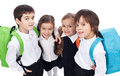 Back to school theme with group of children closeup having backpacks Royalty Free Stock Images