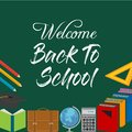 Back to School Title Words with Realistic School Items With Colo