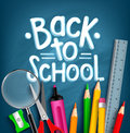 Back to School Title Words with Realistic School Items Royalty Free Stock Photo