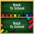 Back to school title words written in a chalkboard with sets of markers