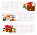 Back to school two banners with school supplies vector Stock Photo