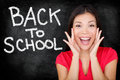 Back to school university college student teacher screaming excited by blackboard with written on chalkboard female Royalty Free Stock Photography